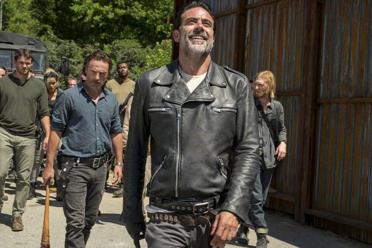 Austin Nichols as Spencer Monroe, Andrew Lincoln as Rick Grimes, Jeffrey Dean Morgan as Negan, and Austin Amelio as Dwight (Credit: Gene Page/AMC)