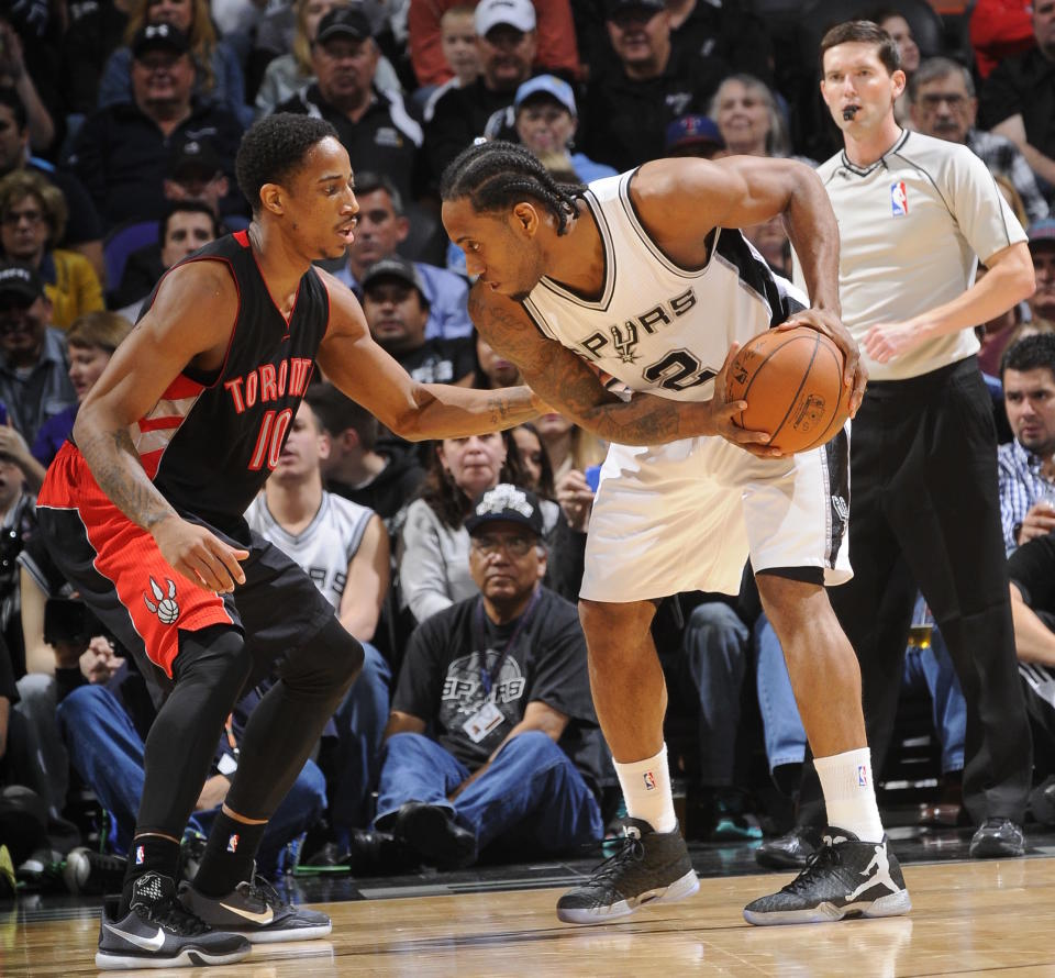 DeMar DeRozan didn't want to leave Toronto. Kawhi Leonard doesn't want to go there. Even so, they'll be changing places this season. (Getty)