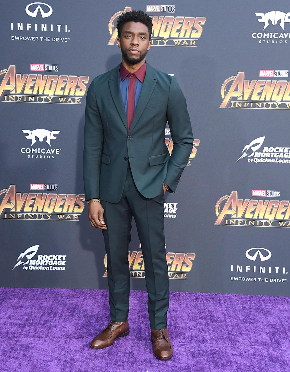 <p>The <em>Black Panther</em> star's shirt added some color. (Photo: Getty Images) </p>