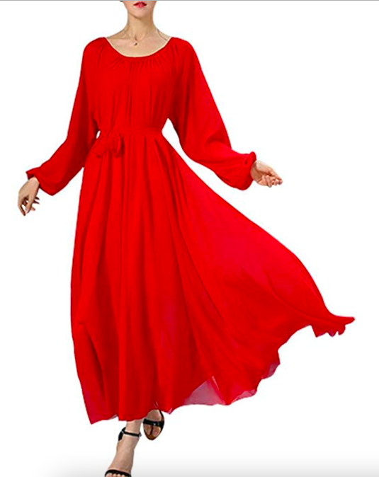 """<br><br><strong>Buenos Ninos</strong> Women's Long Sleeve Chiffon Maxi Dress with Belt, $, available at <a href=""""https://amzn.to/3Ej4Q3S"""" rel=""""nofollow noopener"""" target=""""_blank"""" data-ylk=""""slk:Amazon"""" class=""""link rapid-noclick-resp"""">Amazon</a>"""
