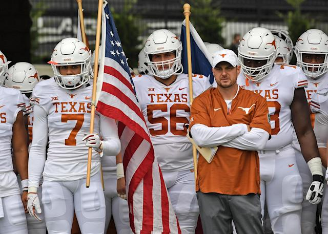 Head coach Tom Herman (R) of the Texas Longhorns gets ready to bring his team out onto the field, prior to a game against the Kansas State Wildcats on Sept. 29, 2018 at Bill Snyder Family Stadium in Manhattan, Kansas. (Getty Images)