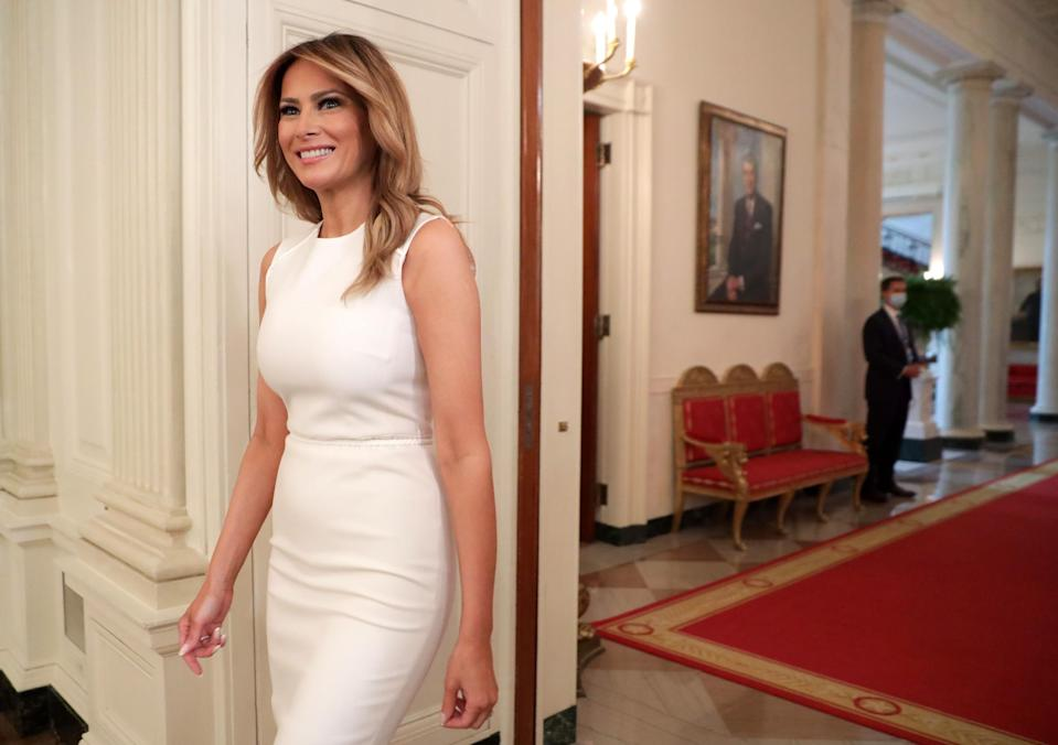 """Melania Trump has credited a """"balanced diet, fresh air, and vitamins"""" for helping her overcome the coronavirus. (Photo by Alex Wong/Getty Images)"""