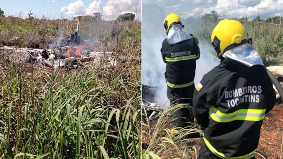Pictured here, rescue team members survey the scene of the plane crash in Brazil.