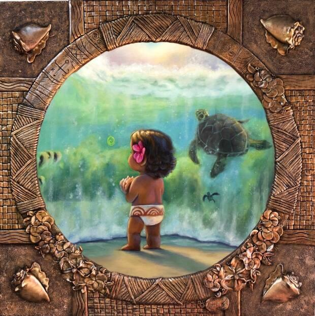 One of Klette's pieces is a Moana-inspired painting with a custom-sculpted frame.