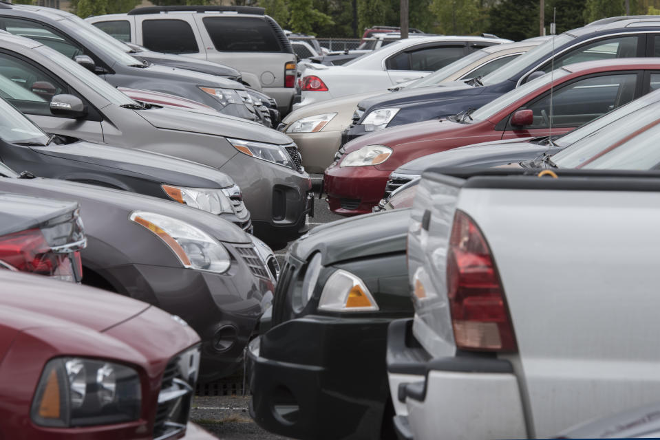 Used cars in a parking lot.