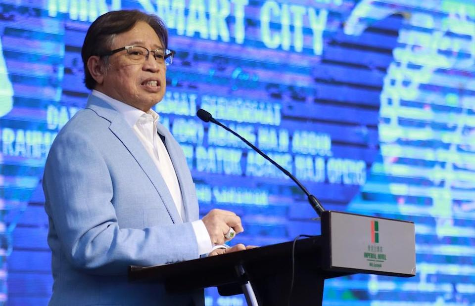 Sarawak Chief Minister Datuk Patinggi Abang Johari Openg speaks during the launch of Miri Smart City in Miri April 12, 2021. — Picture courtesy of Sarawak Public Communications Unit (Ukas)