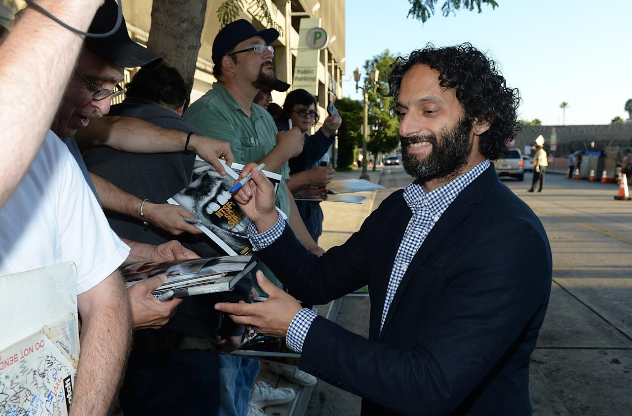 "HOLLYWOOD, CA - SEPTEMBER 03: Actor Jason Mantzoukas signs an autograph at the premiere and launch party for FXX Network's ""It's Always Sunny In Philadelphia"" and ""The League"" at Lure on September 3, 2013 in Hollywood, California. (Photo by Michael Buckner/Getty Images)"