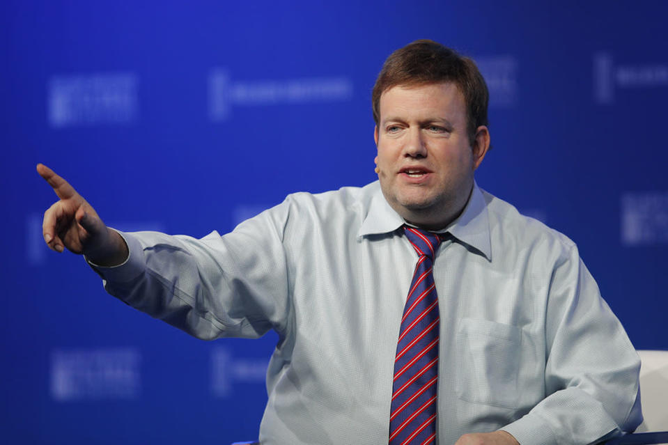 Moderator Frank Luntz speaks at the Milken Institute Global Conference Monday, April 30, 2018, in Beverly Hills, Calif.