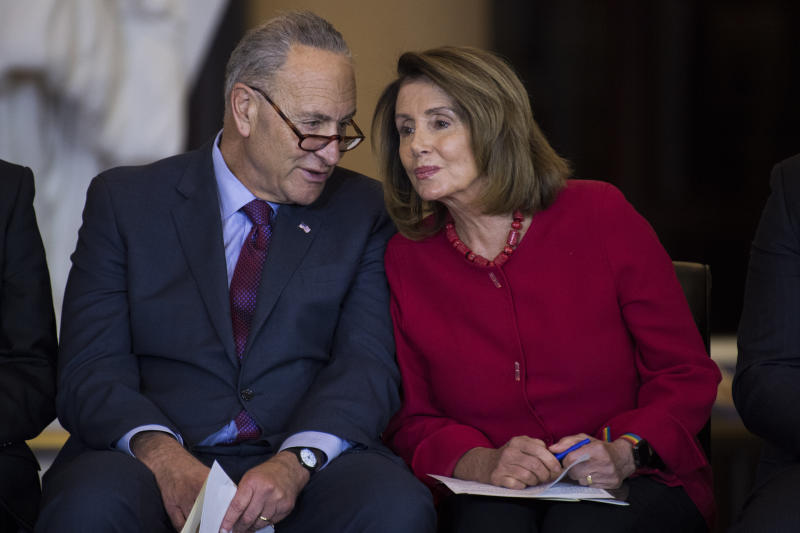 Senate Minority Leader Charles Schumer (D-N.Y.) and House Minority Leader Nancy Pelosi, (D-Calif.). (Tom Williams via Getty Images)