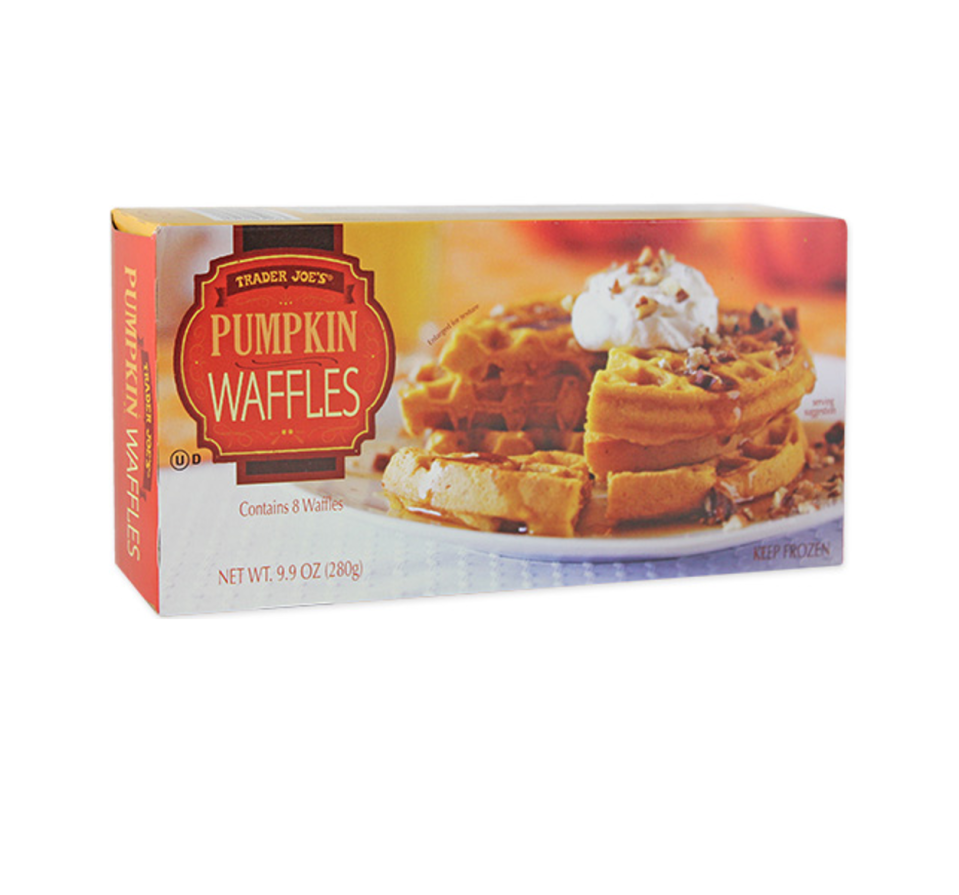 <p>Pop these waffles in the toaster and enjoy with maple syrup or slice them into sticks for a portable breakfast treat. <strong>They're made with real pumpkin and have the perfect blend of pumpkin pie spice notes as well. </strong></p>