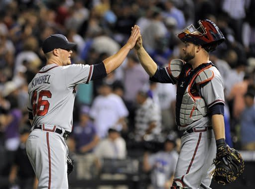 Atlanta Braves relief pitcher Craig Kimbrel and Brian McCann celebrate a 9-8 victory over the Colorado Rockies after the 11th inning of a baseball game Friday, May 4, 2012, in Denver. (AP Photo/Jack Dempsey)