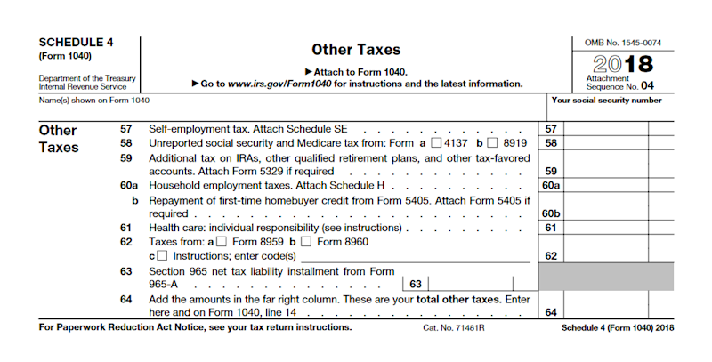 Irs Schedule 4 Do You Owe These 7 Extra Taxes
