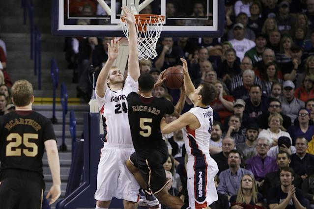 Santa Clara's Jalen Richard (5) attempts a layup against Gonzaga's Przemek Karnowski (24) and Kevin Pangos (4) during the second half of an NCAA college basketball game on Saturday, Dec. 28, 2013, in Spokane, Wash. Gonzaga won 74-60. (AP Photo/Young Kwak)