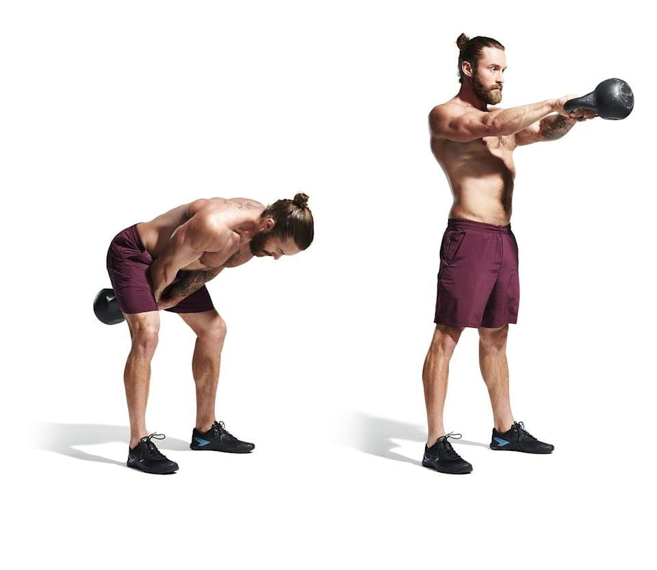 <ol><li>Place a kettlebell a couple of feet in front of you. Stand with your feet slightly wider than shoulder-width apart and bend your knees to lean forward and grab the handle with both hands. </li><li>With your back flat, engage your lats to pull the weight between your legs (be careful with how deep you swing) then drive your hips forward and explosively pull the kettlebell up to shoulder height with your arms straight in front of you.</li><li> Return to the start position and repeat without pauses.</li></ol><p><strong>Men's Health says: </strong>Don't be tempted to squat! Your knees should bend slightly but most of the movement is driven by your hips.</p>