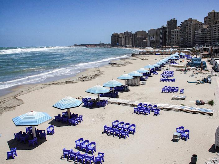 """This picture was taken on May 24, 2020, showing a view of a deserted beach in Egypt's northern Mediterranean coastal city of Alexandria. <p class=""""copyright"""">-/AFP via Getty Images</p>"""