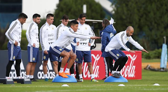 Football Soccer - Argentina's national soccer team training - World Cup 2018 - Buenos Aires, Argentina - May 21, 2018 - Argentina's players attend a training session. REUTERS/Agustin Marcarian