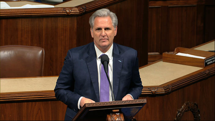 House Minority Leader Kevin McCarthy of Calif., speaks as the House of Representatives debates the articles of impeachment against President Donald Trump at the Capitol in Washington, Wednesday, Dec. 18, 2019. (House Television via AP)