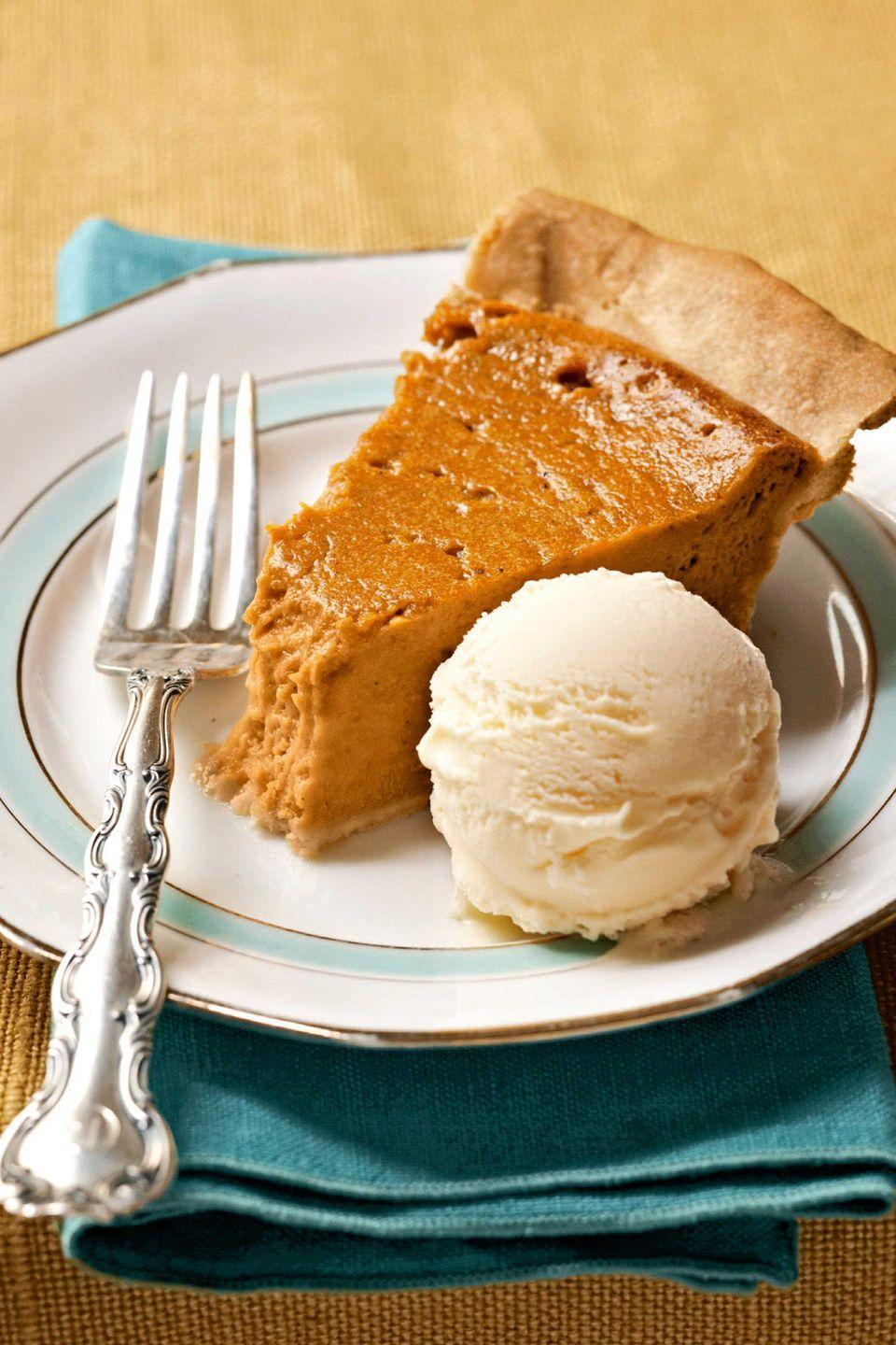 """<p>A regular at the holiday table, this classic pie recipe contains the perfect blend of cinnamon and nutmeg spices.</p><p><strong><a href=""""https://www.countryliving.com/food-drinks/recipes/a19126/sweet-potato-pie-recipe/"""" rel=""""nofollow noopener"""" target=""""_blank"""" data-ylk=""""slk:Get the recipe"""" class=""""link rapid-noclick-resp"""">Get the recipe</a>.</strong></p><p><a class=""""link rapid-noclick-resp"""" href=""""https://www.lodgecastiron.com/product/seasoned-cast-iron-pie-pan?sku=BW9PIE"""" rel=""""nofollow noopener"""" target=""""_blank"""" data-ylk=""""slk:SHOP CAST IRON PIE PANS"""">SHOP CAST IRON PIE PANS</a></p>"""
