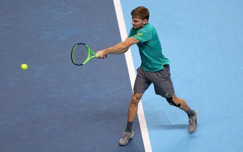 <span>David Goffin powers a backhand</span> <span>Credit: John Patrick Fletcher/Action Plus via Getty Images </span>