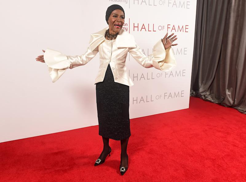 Three-time Emmy winner Cicely Tyson, 95, strikes a celebratory pose at the Saban Media Center in Los Angeles, where she was inducted into the Televisoin Academy Hall of Fame Tuesday.