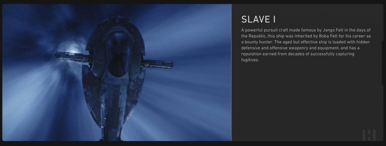 Boba Fett's ship is still referred to as Slave I on the official