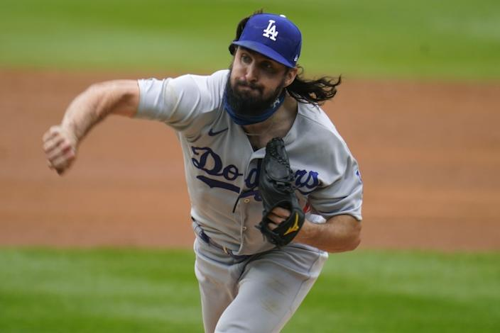Los Angeles Dodgers starting pitcher Tony Gonsolin works against the Colorado Rockies.