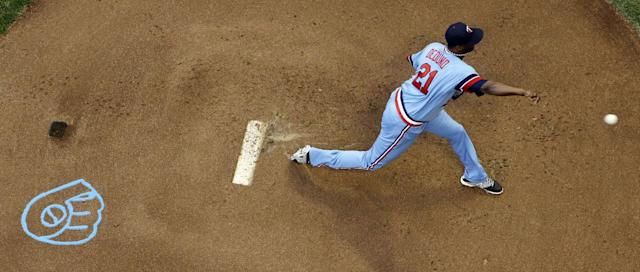 Minnesota Twins pitcher Samuel Deduno throws during the first inning of a baseball game against the Milwaukee Brewers on Tuesday, June 3, 2014, in Milwaukee. (AP Photo/Morry Gash)