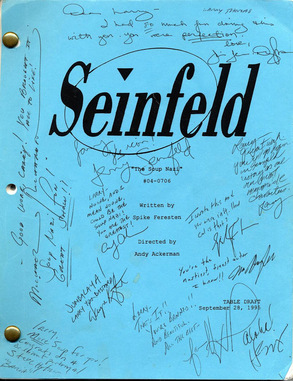 "A signed table read script for ""The Soup Nazi"" episode. Jerry Seinfeld writes, ""The Icon!"" (Photo: Courtesy of Larry Thomas)"