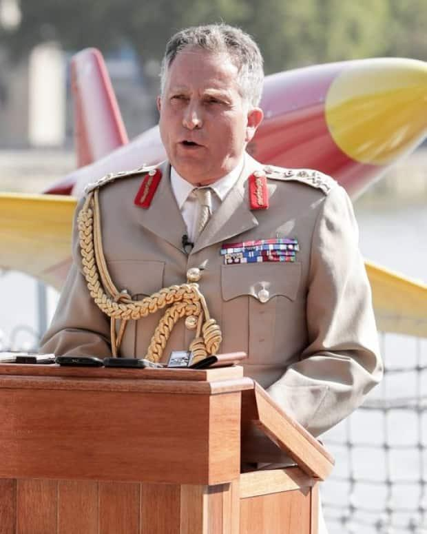 British Gen. Nick Carter, pictured onboard HMS Tamar in London last September, said recent Russian acts are 'assertive and in some ways aggressive.' (Contributed/British Ministry of Defence - image credit)