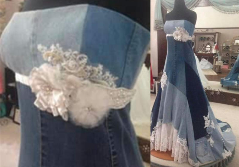 The dress is made entirely of denim, trimmed with a variety of fabrics. Photo: Facebook