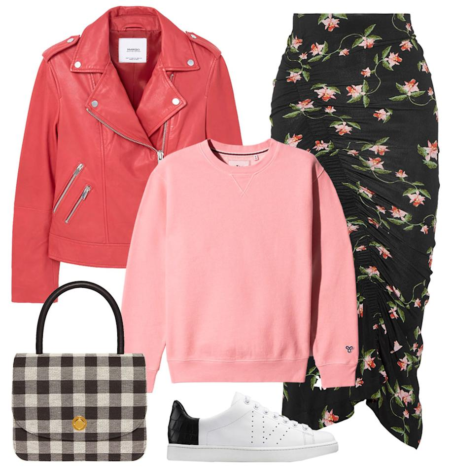 """<p>Keep the hemlines long for more leg coverage and layer up with knit sweaters and a leather jacket. Keep florals in mind during this time, as well as fun pops of color to keep your outfit light and happy. </p>  <p><strong>Shop the look: </strong>Mango jacket, $200; <a rel=""""nofollow"""" href=""""http://www.anrdoezrs.net/links/7799179/type/dlg/sid/ISFASHIONWEIRDWEATHEROUTFITSBED/http://shop.mango.com/US/p0/women/clothing/jackets/biker-jackets/leather-biker-jacket?id=83080046_70&n=1&s=prendas.chaquetas"""">mango.com</a>. Tna sweatshirt, $60; <a rel=""""nofollow"""" href=""""http://us.aritzia.com/product/avalanche-sweater/61962.html?dwvar_61962_color=12710"""">aritzia.com</a>. Preen by Thornton Bregazzi skirt, $525; <a rel=""""nofollow"""" href=""""http://click.linksynergy.com/fs-bin/click?id=93xLBvPhAeE&subid=0&offerid=254155.1&type=10&tmpid=6894&RD_PARM1=https%3A%2F%2Fwww.net-a-porter.com%2Fus%2Fen%2Fproduct%2F805936%2Fpreen_by_thornton_bregazzi%2Fshirley-ruched-floral-print-stretch-jersey-midi-skirt&u1=ISFASHIONWEIRDWEATHEROUTFITSBED"""">net-a-porter.com</a>. Vince sneakers, $295; <a rel=""""nofollow"""" href=""""http://www.vince.com/varin-texture-blocked-leather-sneaker-E0658L4.html?dwvar_E0658L4_color=PLABLK#sz=20&start=31"""">vince.com</a>. Mansur Gavriel, $895; <a rel=""""nofollow"""" href=""""https://www.mansurgavriel.com/products/checker-metropolitan-bag/black"""">mansurgavriel.com</a>.</p>"""
