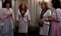 Bette Midler and Lily Tomlin played their own twins, in the 1988 comedy Big Business, mismatched at birth, meaning one pair ended up with a wealthy urban family and the other in a poor rural family. Lots of great hair in this one.