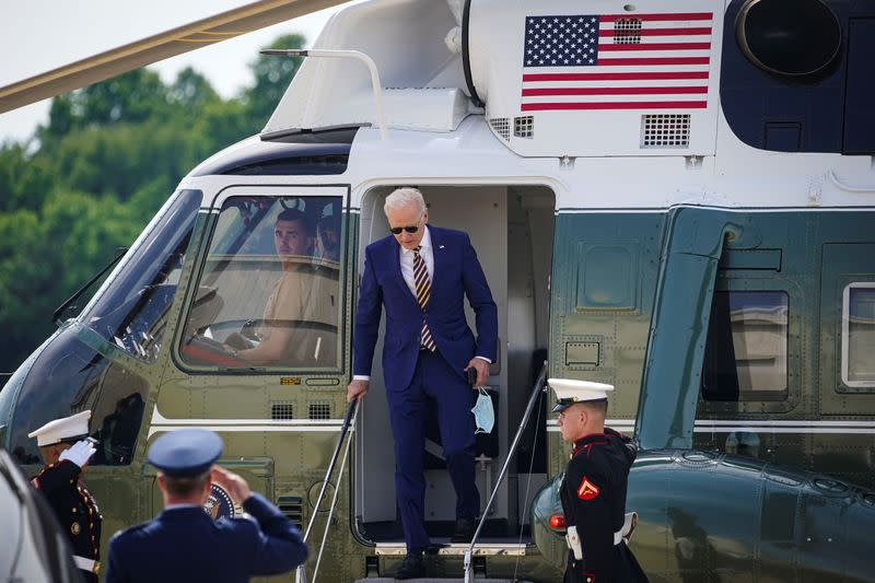 U.S. President Joe Biden arrives on Marine One for a weekend trip to his home in Wilmington at Delaware Air National Guard Base