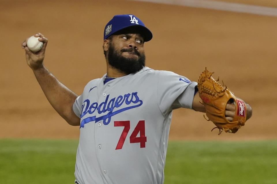 Dodgers reliever Kenley Jansen throws against the Tampa Bay Rays in the ninth inning in Game 4 of the World Series.