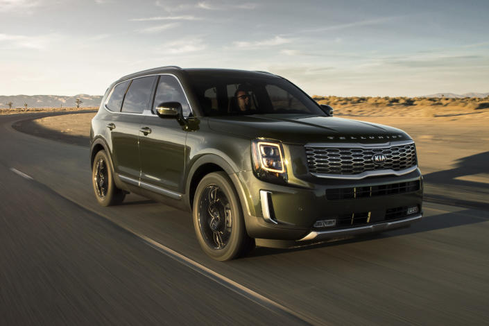 This undated photo provided by Kia shows the all-new Kia Telluride. It's an attractive, upscale and capable three-row SUV, and it's at the top of its class. The Telluride is one of the best options you have if you're looking for a camping-friendly vehicle with lots of space for passengers and cargo. (Kia Motors America via AP)