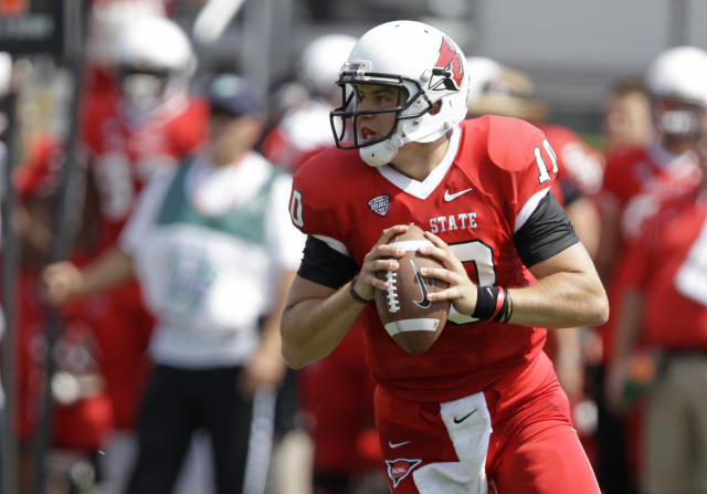 Ball State quarterback Keith Wenning drops back to throw during the first half of an NCAA college football game against Army in Muncie, Ind., Saturday, Sept. 7, 2013. (AP Photo/Michael Conroy)