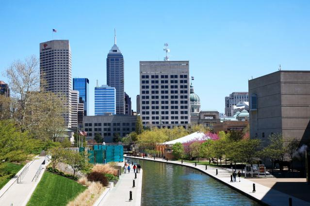 The Canal Walk and skyline of downtown Indianapolis, Indiana