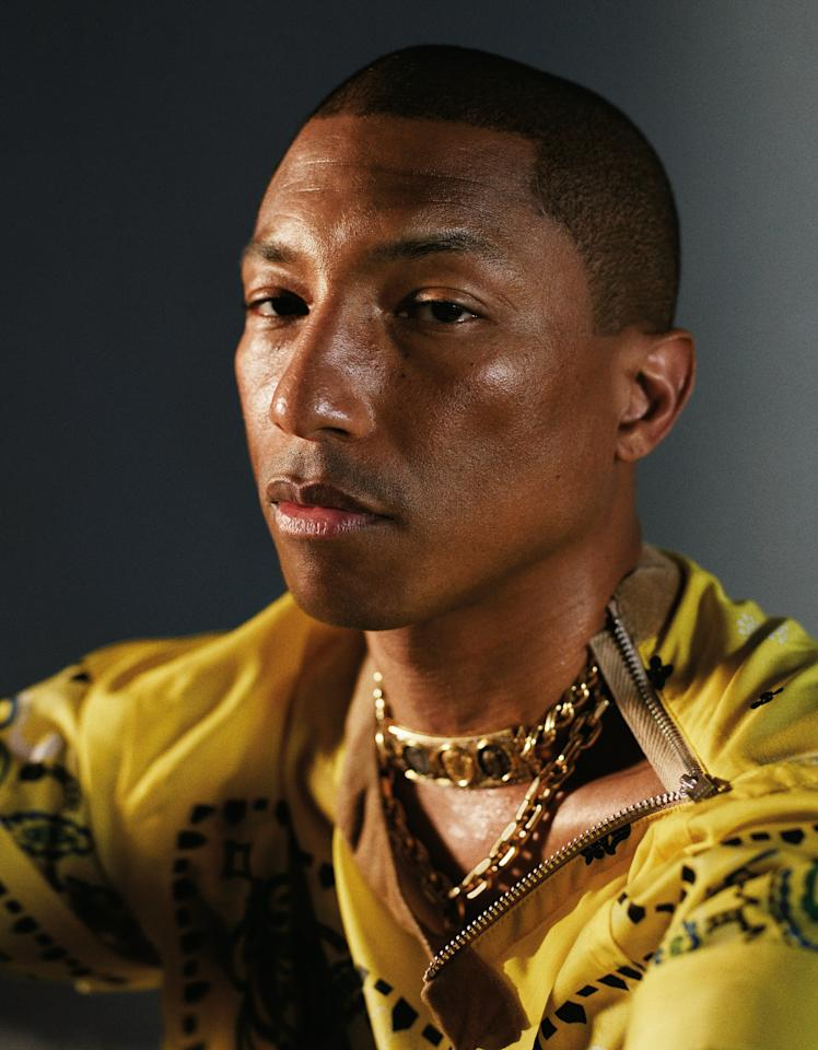 Pharrell Williams, born April 5th, photographed by Mario Sorrenti for W Magazine.