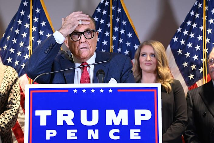 Trump's personal lawyer Rudy Giuliani speaks during a press conference at the Republican National Committee headquarters in Washington, DC, on November 19, 2020. (Photo by MANDEL NGAN / AFP) (Photo by MANDEL NGAN/AFP via Getty Images) (AFP via Getty Images)