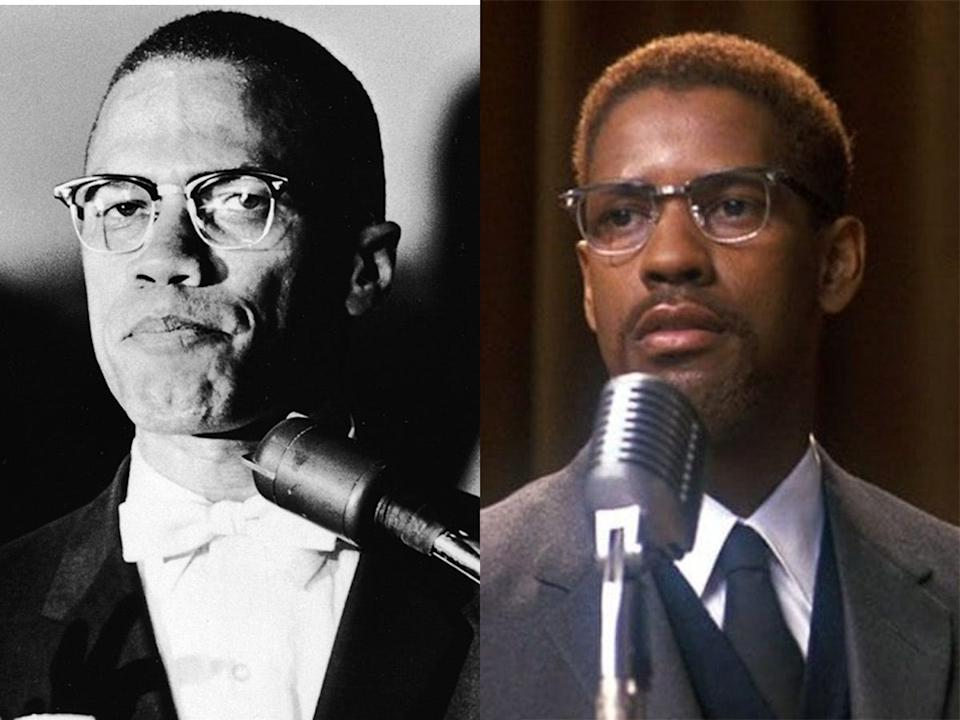 Malcolm X in 1963 (left) and Denzel Washington as Malcolm X (right).