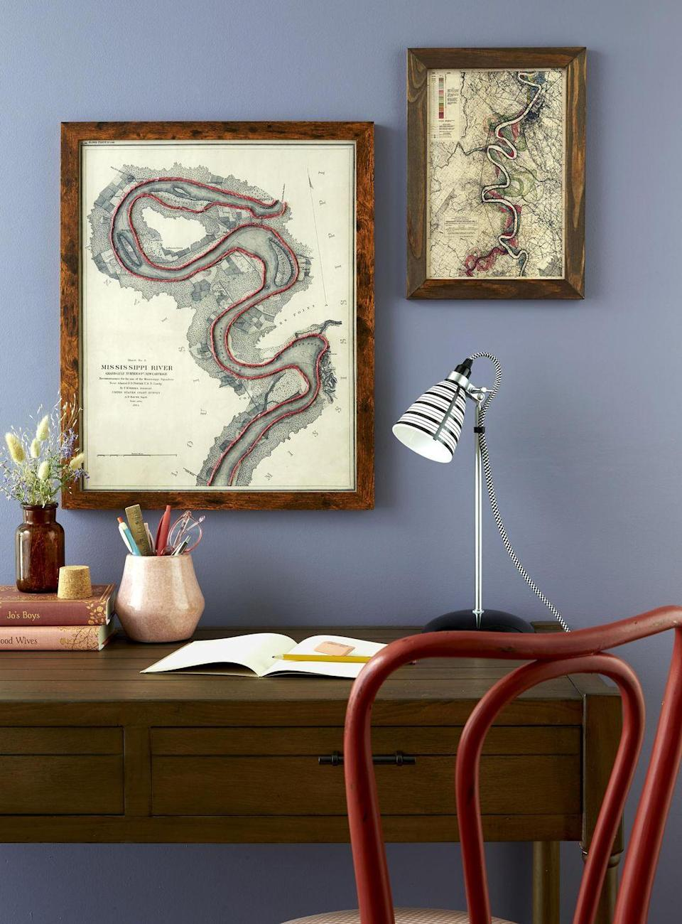 <p>Memorialize a vacation, hiking excursion, rowing adventure, or road trip by outlining the route traversed with ribbon or twine on a new or vintage map. Hold both options in place on the map with hot-glue.</p>
