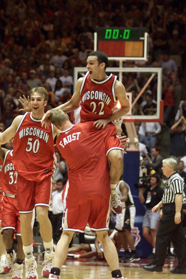 <p>The Badgers were somewhat of an afterthought heading into the tourney, coming off a fifth-place finish in the Big Ten and holding an 18-13 record at the time. But 8th-seeded Wisconsin came alive, knocking off No. 1 Arizona in the second round and using a lockdown defense to pick off LSU and Purdue to land in the program's first Final Four since 1941. It all ended with a loss to conference rival Michigan State, which went on to win the championship. </p>