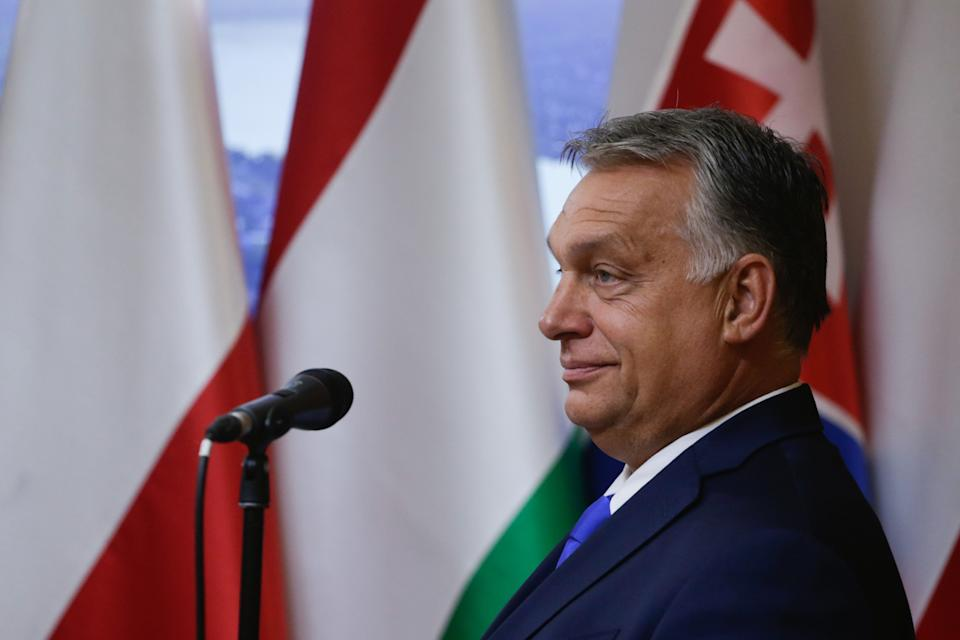 Hungarian Prime Minister Viktor Orban speaks during a press conference with his Polish and  Czech counterparts at the Polish permanent representation in Brussels on September 24, 2020 after talks with top EU officials as the bloc tries to reform asylum rules five years after the continent was engulfed by a migrant crisis. - The group declared they reject the EU's new plan for handling migrants because it was not tough enough, dealing a blow to efforts to solve one of Europe's thorniest problems. (Photo by Aris Oikonomou / AFP) (Photo by ARIS OIKONOMOU/AFP via Getty Images) (Photo: ARIS OIKONOMOU via Getty Images)