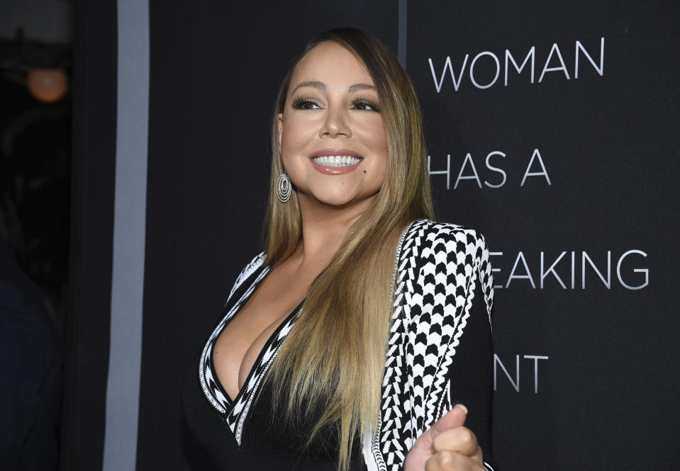 "Singer Mariah Carey attends the premiere of Tyler Perry's ""A Fall from Grace,"" at Metrograph, Monday, Jan. 13, 2020, in New York. (Photo by Evan Agostini/Invision/AP)"