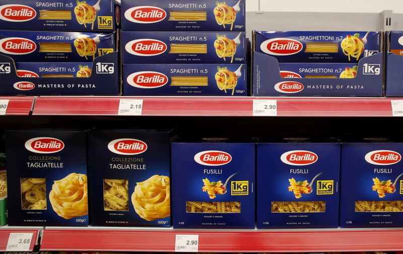 FILE PHOTO: Pasta products of Italian producer Barilla are displayed at a supermarket of Swiss retailer Denner in Glattbrugg