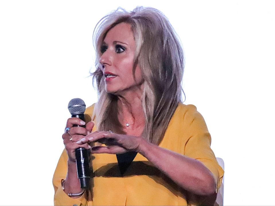 Author and speaker Beth Moore speaks during a panel on sexual abuse in Birmingham, Alabama on June 10, 2019.  (Adelle M. Banks/Religion News Service via AP)