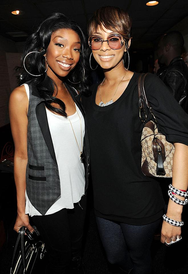 "Brandy and Keri Hilson were all smiles in their gigantic matching hoop earrings. Kevin Mazur/<a href=""http://www.wireimage.com"" target=""new"">WireImage.com</a> - February 1, 2010"