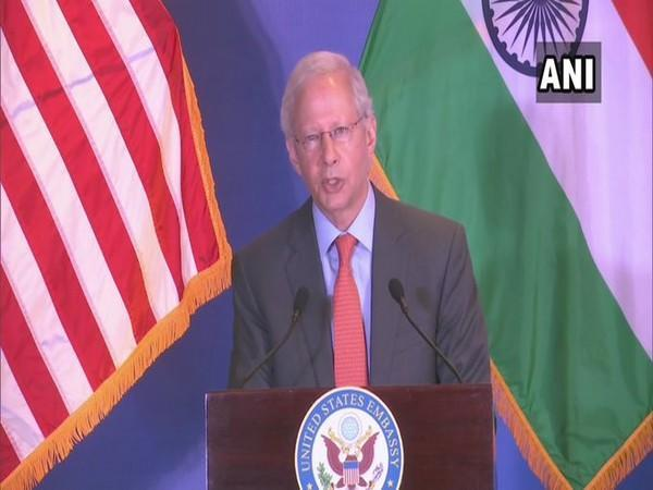 US Ambassador Kenneth Juster speaking during his farewell policy address on Tuesday.