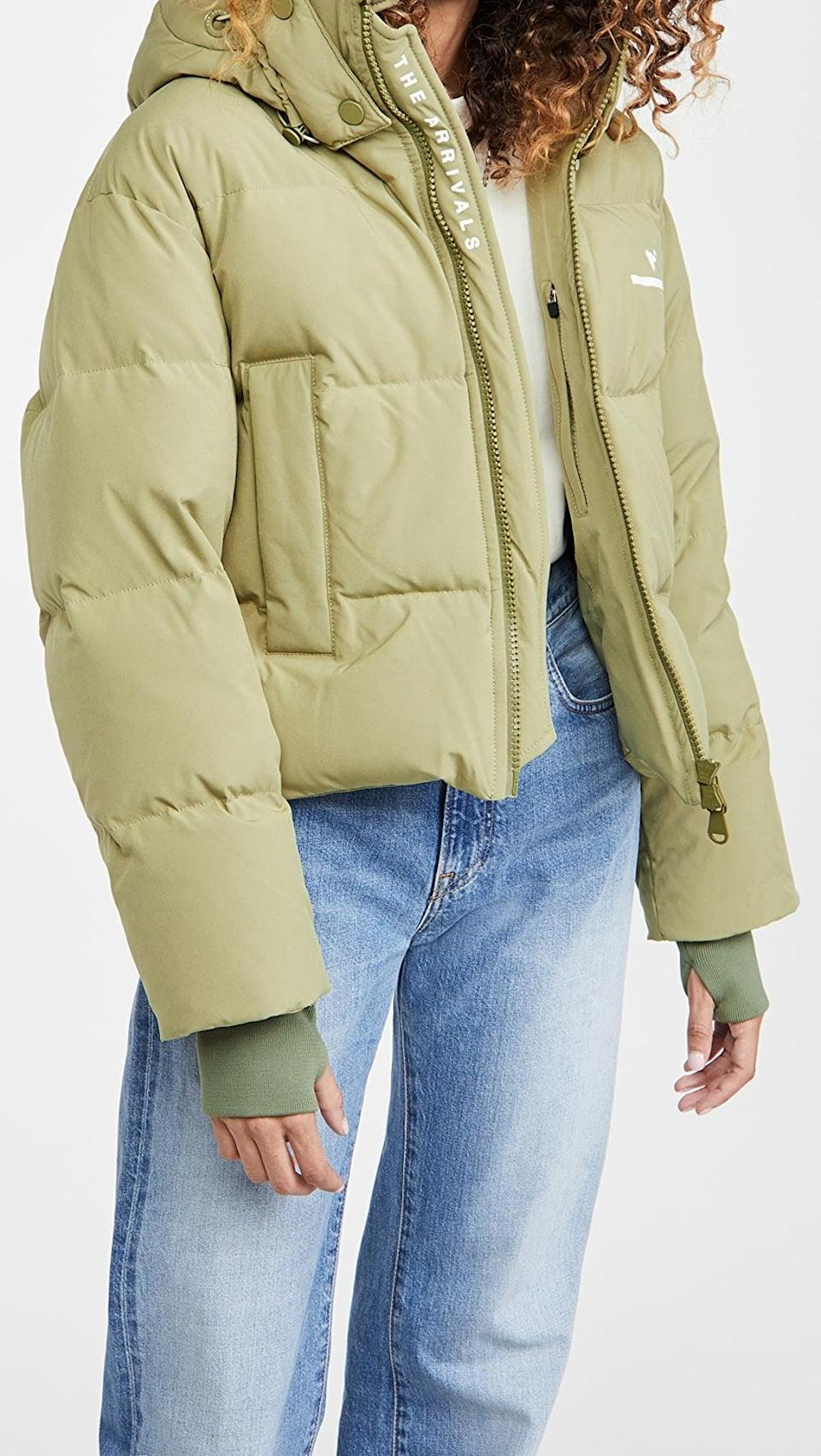 <p>Brave the winter blues in this <span>The Arrivals Womens Short Puffer</span> ($395).</p>