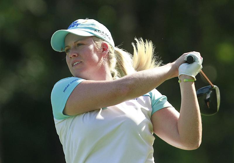 Brittany Lincicome tees off on the 18th green during the third round of the Mobile Bay LPGA Classic golf tournament, Saturday, April 28, 2012, in Mobile, Ala. (AP Photo/Press-Register, Bill Starling) MAGS OUT
